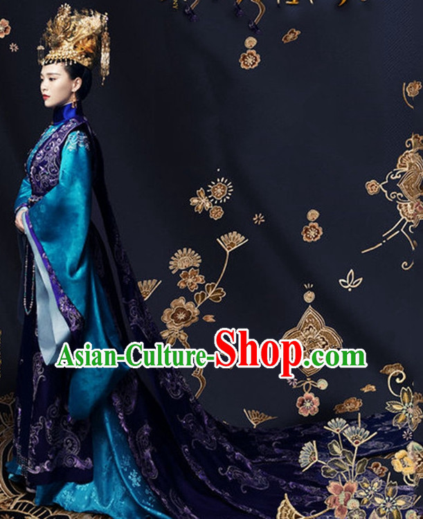Ancient Chinese Imperial Embroidered Phoenix Empress Royal Clothing Complete Set