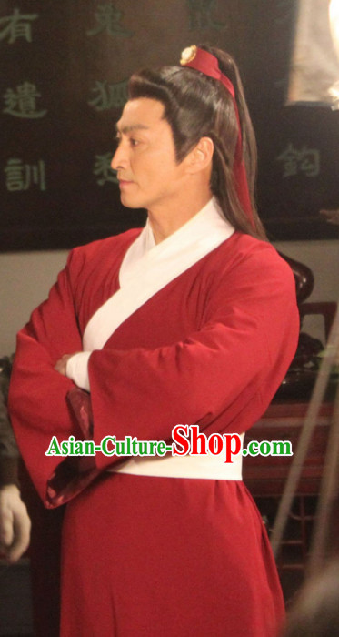 Chinese Ancient Swordsman Zhan Zhao Red Hanfu Clothing Complete Set for Men