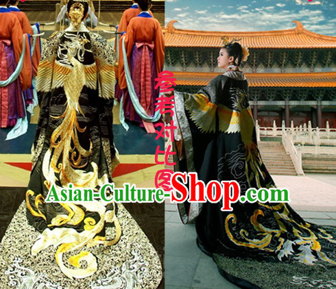 Asian Ancient Tang Dynasty Female Emperor Long Trail Embroidered Phoenix Dresses