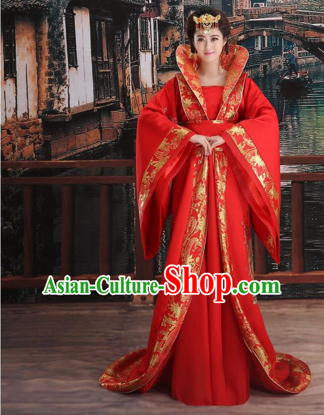 Ancient Chinese Palace Empress Costumes Complete Set Tang Dynasty Ancient Palace Queen Wedding Dress Suits For Women