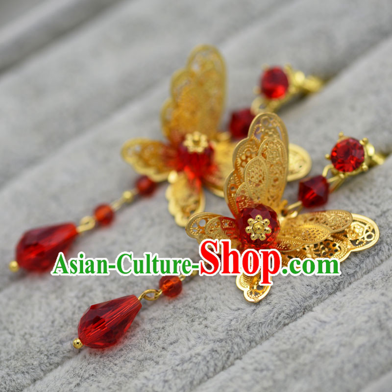 Chinese Ancient Style Jewelry Accessories, Princess, Xiuhe Suit, Wedding Bride Earring Set for Women