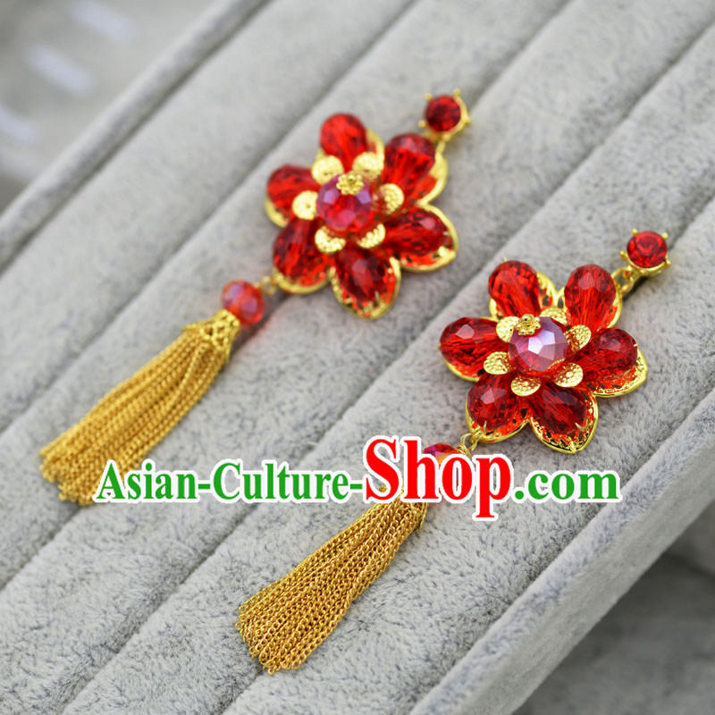 Chinese Ancient Style Hair Jewelry Accessories, Princess, Hanfu, Xiuhe Suit, Wedding Bride Earrings for Women