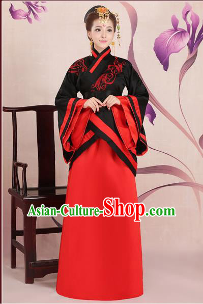 Ancient Chinese Palace Empress Costumes Complete Set, Han Dynasty Ancient Palace Wedding Princess Clothing, Hanfu Dress Suits For Women