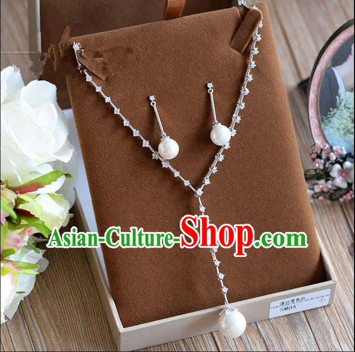 Traditional Jewelry Accessories, Palace Princess Necklace, Wedding Accessories, Baroco Style Pearl Earrings for Women