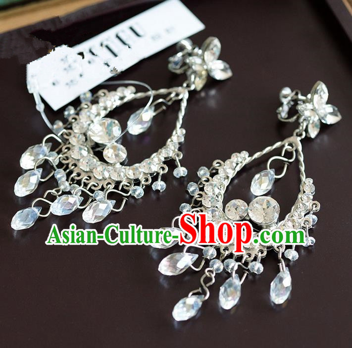Traditional Jewelry Accessories, Princess Accessories, Bride Wedding Jewelry, Bride Earrings, Baroco Style Crystal Earrings for Women