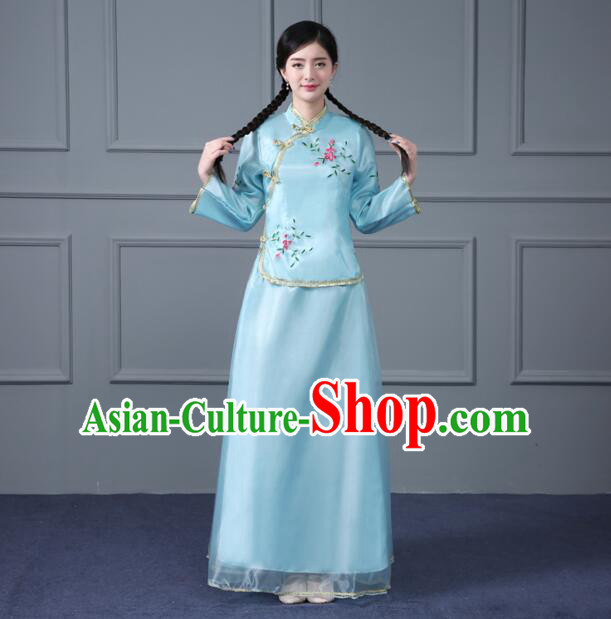 Chinese Traditional Clothes Min Guo Time Female Girls Clothing Nobel Lady