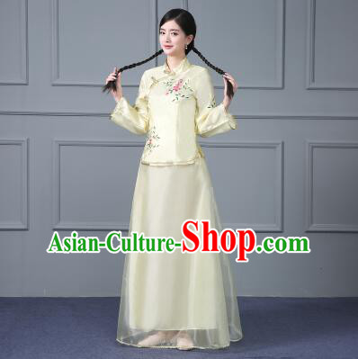 Chinese Traditional Costume Min Guo Time Female Women Clothing Nobel Lady
