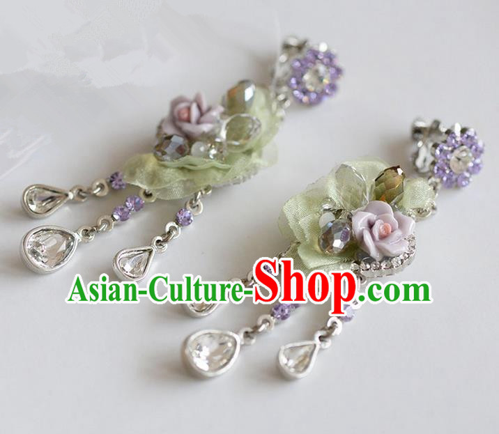 Traditional Jewelry Accessories, Palace Princess Accessories, Wedding Earrings, Crystal Earring for Women