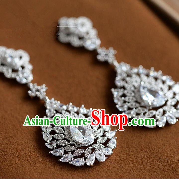 Traditional Jewelry Accessories, Palace Princess Accessories, Wedding Earrings, Crystal Zircon Earring for Women