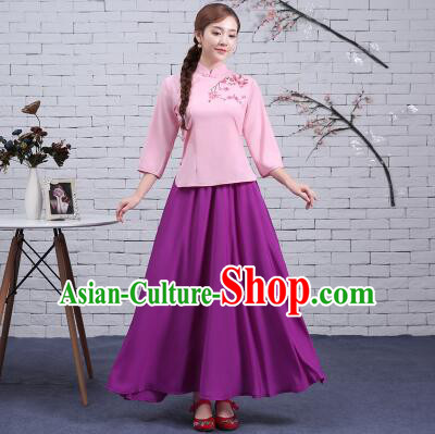 Chinese Traditional Clothes Min Guo Time Female Dress Women Clothing Stage Costumes Show