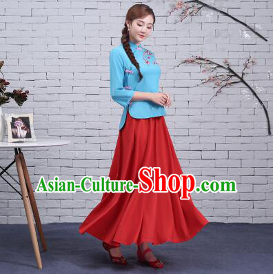 Chinese Traditional Dress Min Guo Time Female  Clothes Women Clothing Stage Costumes Show