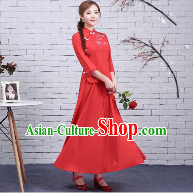 Chinese Women Dress Traditional Clothes Min Guo Time Female Women Clothing Stage Costumes Show