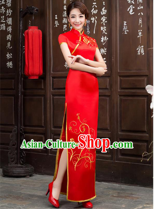 Ancient Chinese Costumes, Manchu Clothing Qipao, Retro Long Silk Mandarin Collar Embroidered Cheongsam, Traditional Cheongsam Wedding Toast Dress for Bride
