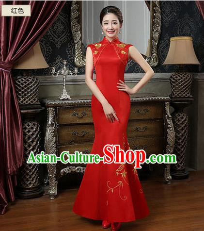 Ancient Chinese Costumes, Manchu Clothing Qipao, Improved Long Silk Cheongsam, Traditional Fish Tail Red Cheongsam Wedding Toast Dress for Bride