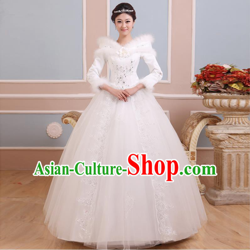 Traditional Chinese Large Size Bride Off Shoulder Wedding Dress, Floor Length Thicken Wedding Dress for Women