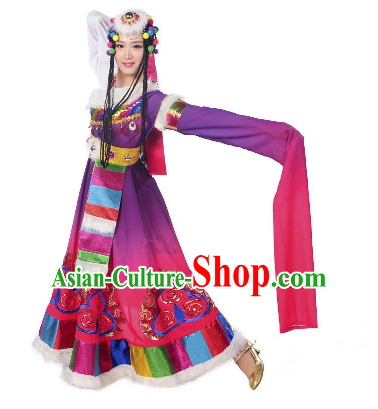 Traditional Chinese Zang Nationality Dancing Costume, Folk Dance Ethnic Costume, Chinese Minority Nationality Tibetan Dance Costume for Women