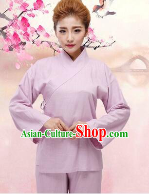 Chinese Zhong Yi triung qioi Ancient Clothes Inner Under Clothes Robe Pants Men Women Sleeping Exercise Costume Purple