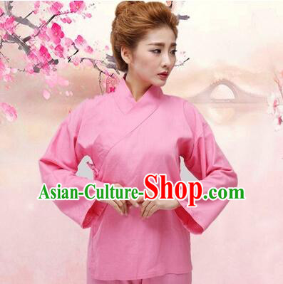 Chinese Zhong Yi triung qioi Ancient Clothes Inner Under Clothes Robe Pants Men Women Sleeping Exercise Costume Pink