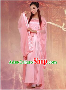 Chinese Classical Xiao Long Nv Costumes Complete The Return of the Condor Heroes Set Han Fu Stage Show Chiffon Dress Pink