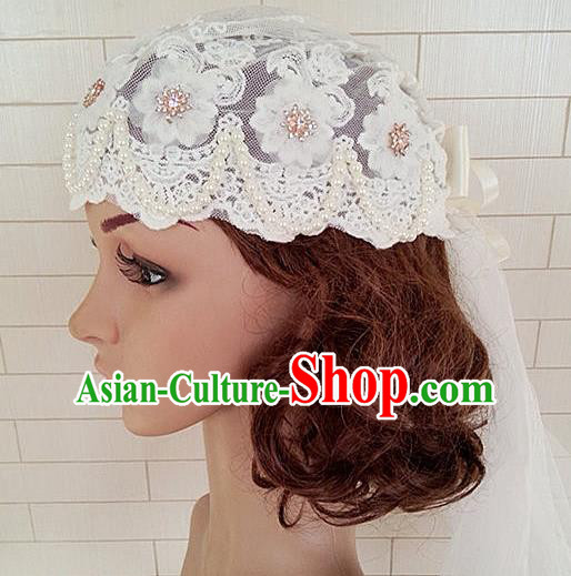 Chinese Wedding Jewelry Accessories, Traditional Bride Headwear, Wedding Tiaras, bridal Wedding Lace Pearl Veil Hair Clasp