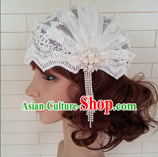 Chinese Wedding Jewelry Accessories, Traditional Bride Headwear, Wedding Tiaras, Imperial Bridal Wedding Lace Tassel Pearl Veil Hat