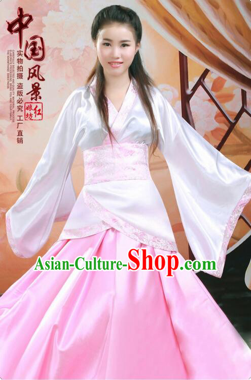 Tang Suit Women Han Fu Set curving-front Chinese Ancient Costume Stage Ceremonial Clothes Pink
