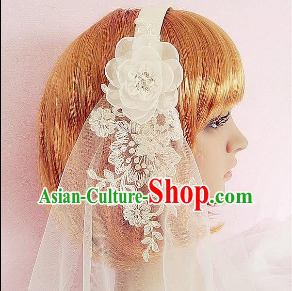 Chinese Wedding Jewelry Accessories, Traditional Bride Headwear, Wedding Tiaras, Imperial Bridal Baroco Style Wedding Lace Long Veil Hair Clasp