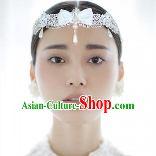 Chinese Wedding Jewelry Accessories, Traditional Bride Headwear, Princess Wedding Tiaras, Imperial Bridal Baroco Style Wedding Lace Tassels Pearl Hair Clasp
