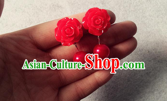 Chinese Wedding Jewelry Accessories, Traditional Xiuhe Suits Wedding Bride Earrings, Ancient Chinese Earrings