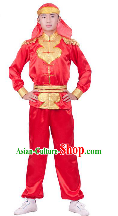 Traditional Chinese Drum Dancing Costume, Dragon Dancing Clothes, Folk Dance Yangko Costume for Men