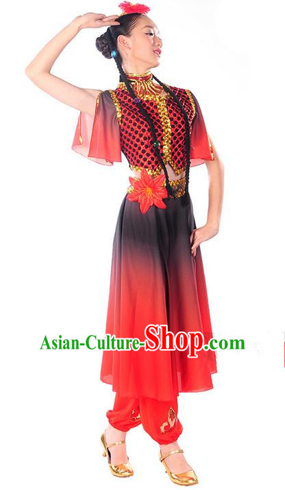 Traditional Chinese Uyghur nationality Dancing Costume, Folk Dance Ethnic Costume, Chinese Minority Nationality Uigurian Dance Costume for Women