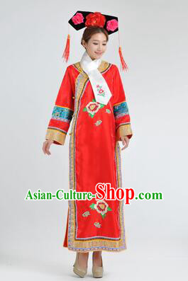 Qipao Qing Dynasty Clothing Empresses in the Palace Qing Chuang Stage Costumes Red