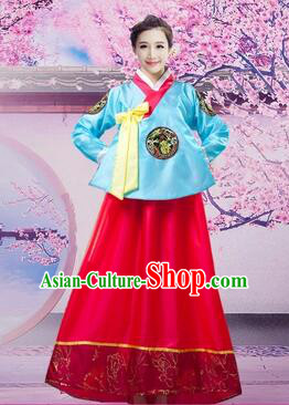 Korean Traditional Dress Women Girl Dancing Stage Ceremonial Dress Blue Top Red Skirt