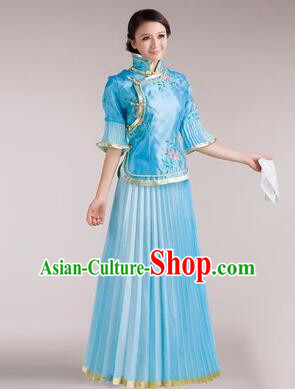 Min Guo Girl Dress Chinese Traditional Costume Stage Show Ceremonial Dress Blue