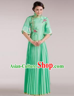 Min Guo Girl Dress Chinese Traditional Costume Stage Show Ceremonial Dress Light Green
