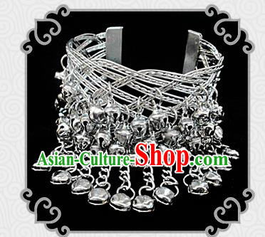 Traditional Chinese Miao Ethnic Minority Bracelet Miao Ethnic Silver Jewelry Accessories Bells Bracelet