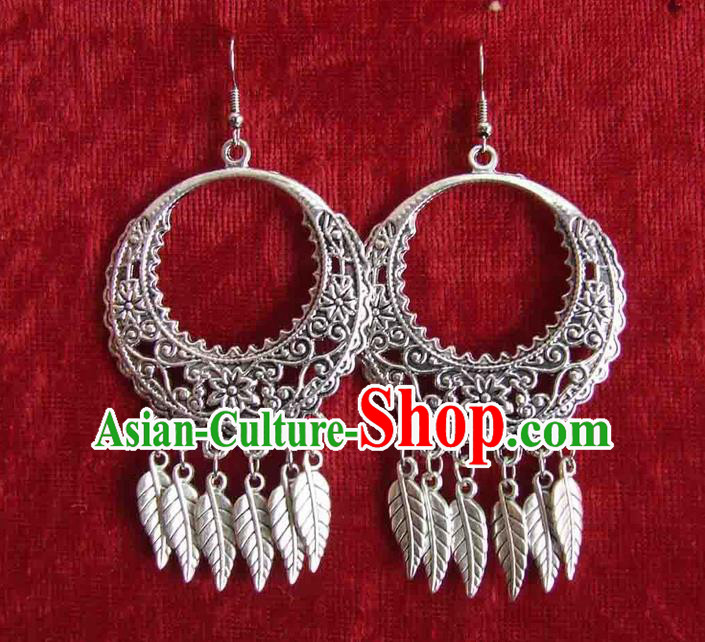 Traditional Chinese Miao Ethnic Minority Earrings Miao Ethnic Silver Jewelry Accessories Earring