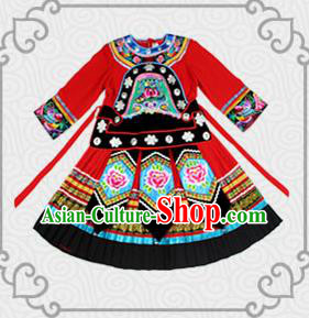 Traditional Chinese Miao Nationality Dancing Costume, Children Folk Dance Ethnic Costume, Chinese Tujia Minority Nationality Dancing Costume for Kids