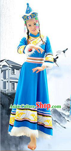 Traditional Chinese Hezhe Nationality Dancing Costume Set, Female Folk Dance Hezhezu Ethnic Clothes and Hat, Chinese Minority Nationality Embroidery Costume for Women