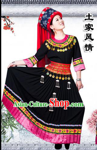 Traditional Chinese Tujia Nationality Dancing Costume Set, Hmong Female Folk Dance Ethnic Pleated Skirt and Hat, Chinese Tujia Minority Nationality Embroidery Costume for Women