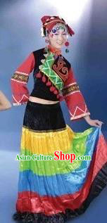 Traditional Chinese Yi Nationality Dancing Costume, Yi Female Folk Dance Ethnic Dress, Chinese Yi Minority Nationality Embroidery Costume for Women