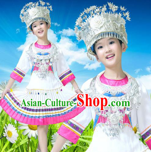 Traditional Chinese Miao Nationality Dancing Costume Accessories Necklace and Longevity Lock, Hmong Children Folk Dance Ethnic Pleated Skirt and Headwear, Chinese Minority Tujia Nationality Embroidery Costume and Hat for Kids