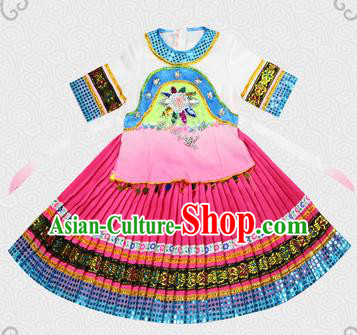 Traditional Chinese Miao Nationality Dancing Costume, Hmong Children Folk Dance Ethnic Pleated Skirt, Chinese Minority Tujia Nationality Embroidery Costume for Kids