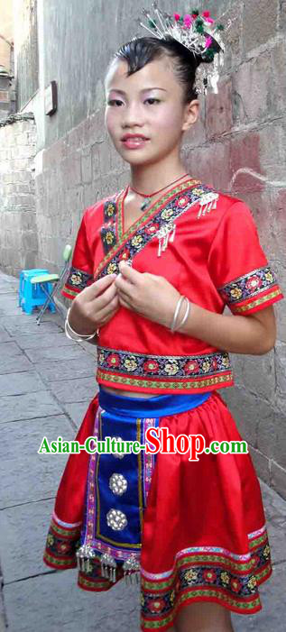 Traditional Chinese Miao Nationality Dancing Costume, Hmong Children Folk Dance Ethnic Dress, Chinese Minority Tujia Nationality Embroidery Costume for Kids
