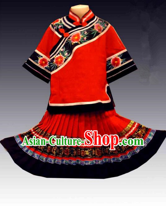 Traditional Chinese Miao Nationality Dancing Costume, Hmong Children Folk Dance Ethnic Dress, Chinese Minority Tujia Nationality Embroidery Costume for Girls Kids