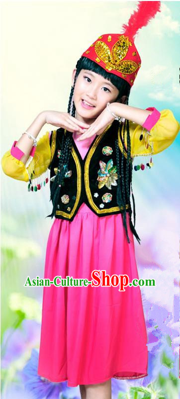 Traditional Chinese Uyghur Nationality Dancing Costume, Uigurian Children Folk Dance Ethnic Pleated Skirt, Chinese Minority Uyghur Nationality Embroidery Costume for Kids