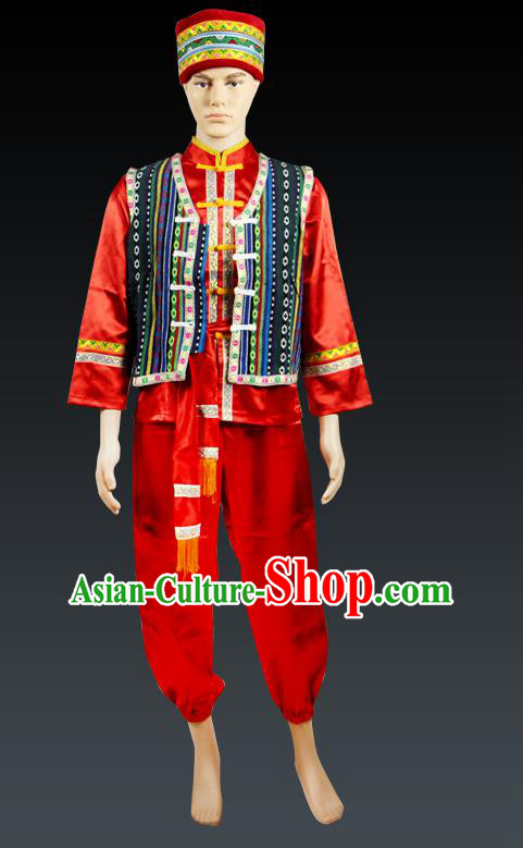 Traditional Chinese Zhuang Nationality Dancing Costume, Zhuangzu Male Folk Dance Ethnic Dress, Chinese Minority Zhuang Nationality Embroidery Costume for Men