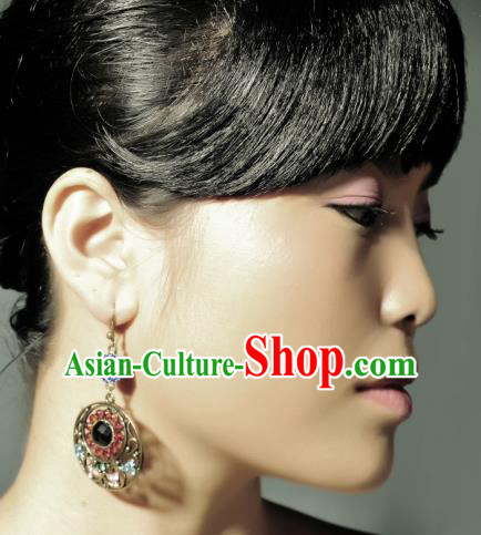 Traditional Chinese Miao Nationality Earrings, Hmong Female Folk Wedding Earrings, Chinese Minority Nationality Jewelry Accessories for Women