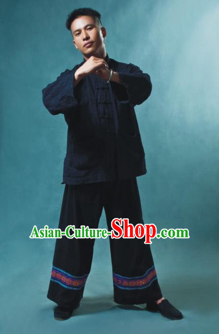Traditional Chinese Miao Nationality Dancing Costume, Hmong Male Folk Dance Ethnic Dress, Chinese Minority Miao Nationality Embroidery Costume for Men