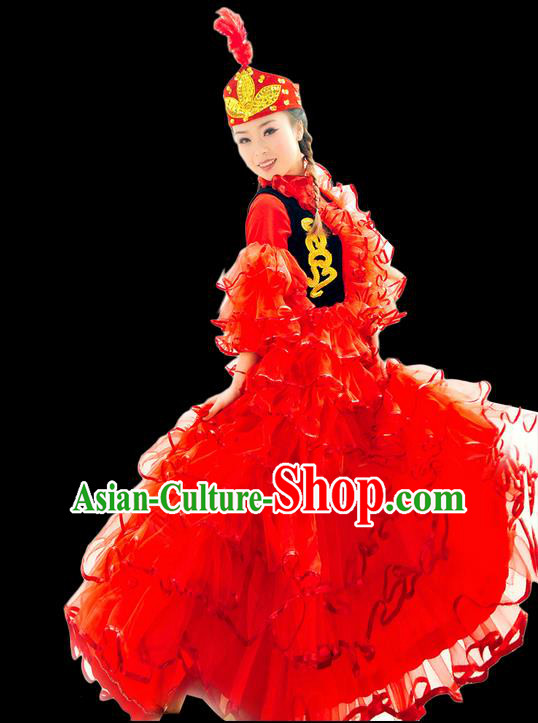 Traditional Chinese Khalkhas Nationality Dancing Costume, Kirkiz Female Folk Dance Ethnic Pleated Skirt, Chinese Minority Khalkhas Nationality Embroidery Costume for Women